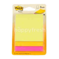 Post-it 3M Post It Neon Orange + Yellow + Pink Notes 3x3