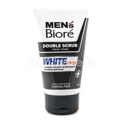 Biore Men's Double Scrub Facial Foam White Energy