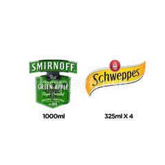 สินค้าขายยกเซ็ต สเมอนอฟฟ์ ว้อดก้า กลิ่นกรีนแอปเปิ้ล & ชเวปส์ น้ำอัดลม ดราย จิงเจอร์เอล 4 กระป๋อง
