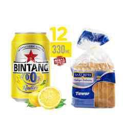 Bintang Radler Lemon 0.0% Alkohol Minuman Berkarbonasi 12 Pack and Sari Roti White Bread