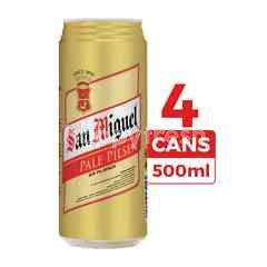 San Miguel Bir Pilsener Pale 500ml (Kaleng) 4-Pack