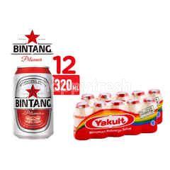 Bintang Pilsener Bir Kaleng 12 Pack dan Yakult Minuman Probiotik Twinpack