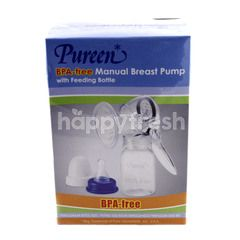 Pureen Manual Breast Pump With Feeding Bottle