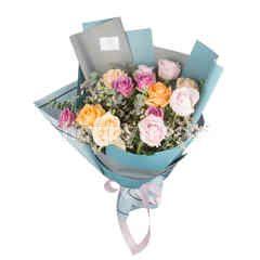 ฮาร์ทอิส ช่อกุหลาบคละสีสดใส 12 ดอก