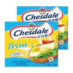Fonterra Chesdale Trim Cheddar Cheese Slices Spread (12 Slices) Twinpack