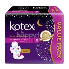 Kotex 41cm Overnight Wngs Pads  (2 x 12 Pads)