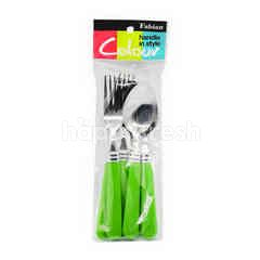 Fabian Handle In Style Colour Spoon And Fork (3 Pairs)