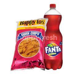 Fanta Rasa Strawberry 1.5L dan Happy Tos Keripik Tortilla