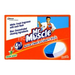 Mr Muscle 4 In 1 Active Clean In-Cistern Block Fresh Scent