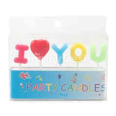 "Roda Party Candles ""I Love You"""