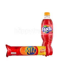 Fanta Rasa Strawberry 390ml dan Ritz Biskuit Sandwich Rasa Keju
