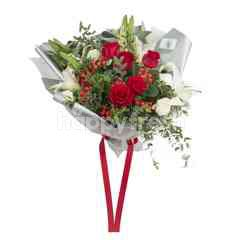 Heartis Bouquet Of Mixed Flowers In Red
