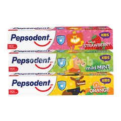 Pepsodent Kids Toothpaste Sweet Strawberry, Sweet Orange, and Sweet Mint