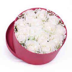 Citra Florist Artificial Flowerbox Circle Maroon