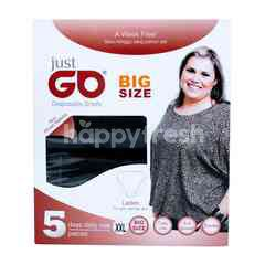 Just Go Black Disposable Panties Ladies Big Size XXL (5 pieces)