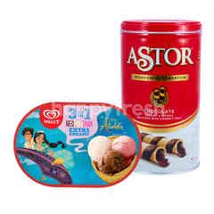 Wall's Extra Creamy 3-in-1 Neopolitana Ice Cream and Astor Chocolate Wafer Stick Package