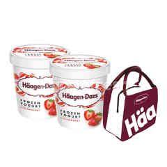 Haagen-Dazs Frozen Yoghurt Strawberry Ice Cream Twinpack Free Cooler Bag