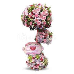 Citra Florist Standing Flowers Wedding 3 Stacks Pink