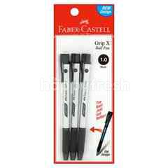 Faber-Castell 1.0 mm Grip X Black Ball Pen (3 Pieces)
