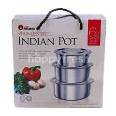 Homes Stainless Steel Indian Pot (6 Pieces)