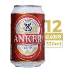 Anker Bir Pilsener 330ml (Kaleng) 12-Pack