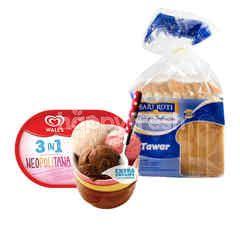 Wall's 3-in-1 Es Krim Neopolitana Ekstra Creamy dan Sari Roti Roti Tawar Paket