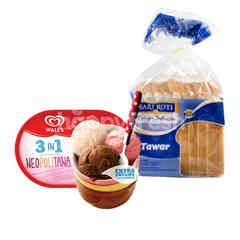 Wall's Extra Creamy 3-in-1 Neopolitana Ice Cream and Sari Roti White Bread Package