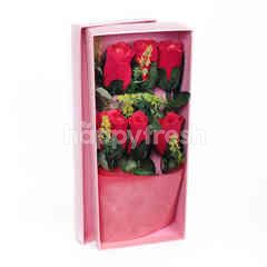 Citra Florist Artificial Flowerbox Red Roses Rectangle Pink