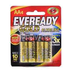 Eveready A91BP4 Gold Alkaline AA Battery (4 Pieces)