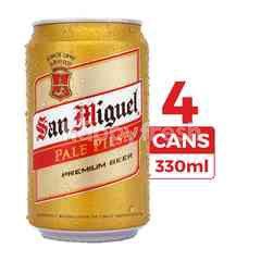 San Miguel Bir Pilsener Pale 330ml (Kaleng) 4-Pack