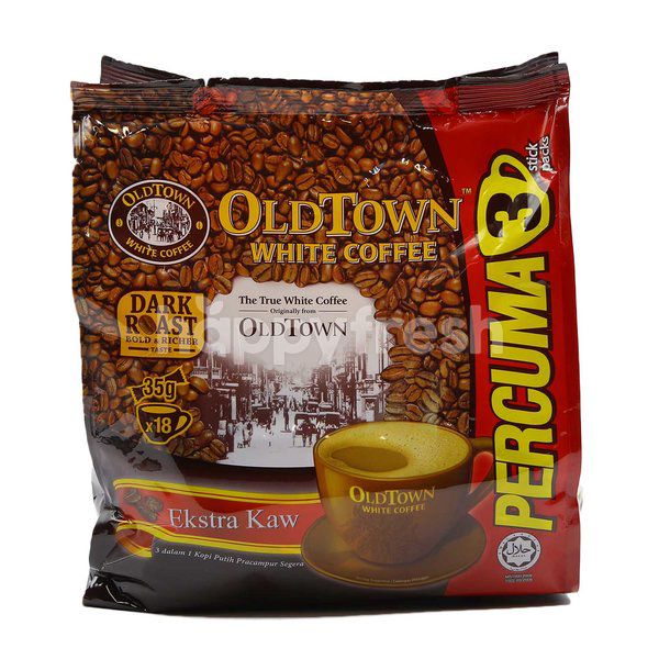 Old Town White Coffee Dark Roast Ekstra Kaw 3 In 1 Instant