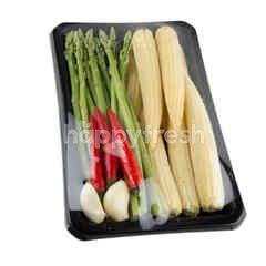 Tesco Asparagus, Baby Corn Chilli and Garlic Set