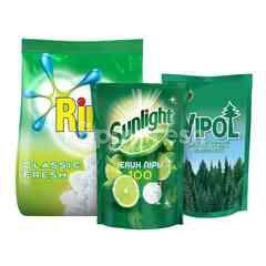 Unilever Sunlight, Rinso, Wipol Paket Rumah Bersih