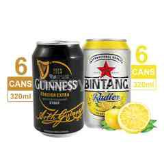 Bundles Guinness 6 Pack Foreign Extra Stout Beer 320ml & 6 Pack Bintang Radler Lemon Canned Beer 320ml