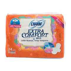 Charm Extra Comfort Maxi Sanitary Pad Wing (24 pads)