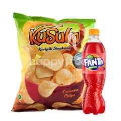 Fanta Rasa Strawberry 390ml dan Kusuka Keripik Kentang Rasa Original