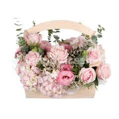 Heartis Flower Basket Of Mixed Flowers In Pink