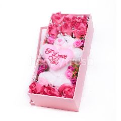 Citra Florist Artificial Flowerbox Roses Rectangle Pink
