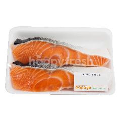 Ikan Salmon dengan Kulit Renyah Asin