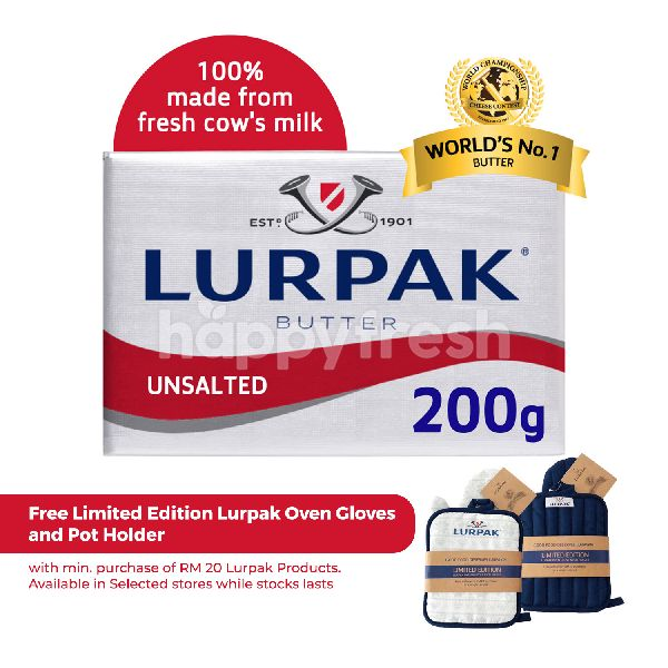 Product: Lurpak Butter Block In Foil Unsalted 200G - Image 1
