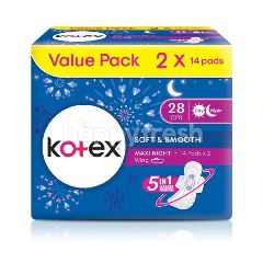 Kotex Soft & Smooth Heavy Flow/Night Wing Pads 28cm (2x14Pads)