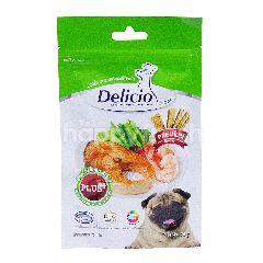 เดลิซิโอ สติ๊กปลาแซลมอน กุ้งและผักคะน้า