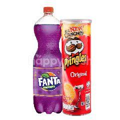 Fanta Rasa Anggur 1.5L dan Pringles Keripik Kentang Original