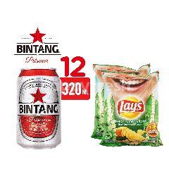 Bintang Pilsener Bir Kaleng 12 Pack dan Lay's Potato Chips Seaweed Twinpack