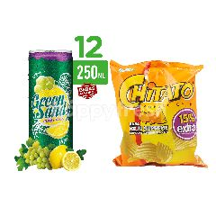 Green Sands Lime and Lychee Carbonated Drinks 12 Pack and Chitato Supreme Chips Potato Chips