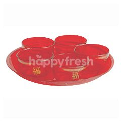 Big C Red Round Plate & Red Tea Cup Set