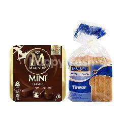 Wall's Es Krim Magnum Mini Classic 45ml dan Sari Roti Tawar