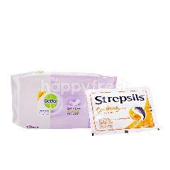 Dettol Tisu Basah Sensitif Anti Bakteri dan Strepsils Rasa Madu and Lemon
