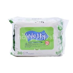 WETTY Antibacterial Wipes With Fragrance (60 Wipes)