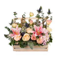 Heartis Flower Basket Of Mixed Flowers In Pastel